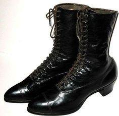 Victorian Black Leather Boots Lady Belle Shoe Size 8A