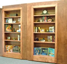 We provide the hardware and your contractor or cabinet maker builds the bookcase and ifnishes the trim in the style of the rooms decor, proposes a post on Reversica. This extremely robust bookcase– perfect for secret. Hidden Bookshelf Door, Bookshelves, Bookcase, Door And Window Design, Room Divider Shelves, Panic Rooms, Diy Home Decor, Room Decor, Safe Room