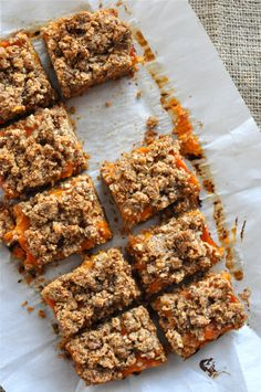 Paleo apricot bars - This one uses fresh, ripe apricots (even a bit past their prime) and brandy for the filling... Try to modify with a compote from unsulphured dried apricots, for winter?