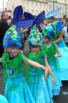 maidens of the river costumes. Felt fish hats and felted collars