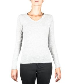 Damen Kaschmir Pullover V-Ausschnitt hellgrau fornt Blouse, Long Sleeve, Sleeves, Tops, Fashion, Cashmere Sweaters, Gray, Women's, Moda
