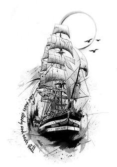 Clock Tattoo Design, Compass Tattoo Design, Tattoo Sleeve Designs, Sleeve Tattoos, Tattoo Sketches, Tattoo Drawings, Ship Tattoo Sleeves, Tattoo Ship, Tattoo Barco