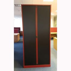 Second Hand Red Tambour Cupboard - 2000mm (Closed)