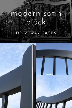 Simple, sleek lines create a beautiful modern-style gate design. These custom gates are made of aluminum and painted satin black. There won't be any rust, and they are lighter weight to be easier on automation equipment.  See more pictures of this gate design on this link. And, contact us to talk about your dream gate! Modern Bungalow, Modern Ranch, Aluminium Gates, Iron Gate Design, Security Gates, Custom Gates, Driveway Gate, Entrance Gates, Modern Traditional