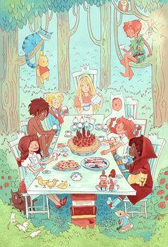 The Great Kid Lit Tea Party 8x12 poster print Book/Children's Lit themed nursery- best idea!
