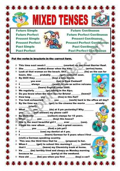 Practise ALL 12 TENSES with this worksheet. KEY INCLUDED!!!!!