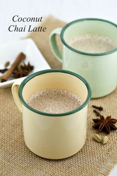 Coconut Chai Latte infused with spices and topped with frothy coconut milk. Includes video. | Roti n Rice