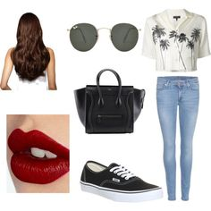 Untitled #15 by millie-huerta on Polyvore featuring polyvore fashion style rag & bone 7 For All Mankind Vans Ray-Ban Hershesons Charlotte Tilbury