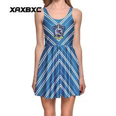 NEW Arrival 1296 Sexy Girl Women Summer HP Ravenclaw Stripe Hogwarts School 3D Print Reversible Sleeveless Skater Pleated Dress #Affiliate