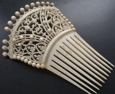 antique Victorian BIG hair comb trellis flower bead ornate fine carved bone N107   eBay