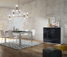 Un #aparador en perfecta combinación con un conjunto #comedor. Una solución perfecta para amueblar tu #salón con diseño, capacidad y sentido práctico. En tu tienda #Merkamueble.
