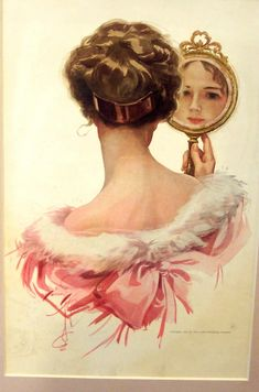 Vintage Print Vanity Mirror Lady in Pink Harrison Fisher (Harrison Fisher Vintage Art Prints illustration Ads) at Victorian Grace Art-Antiques-Collectible Jewelry Vintage Pictures, Vintage Images, Illustrator, Vintage Drawing, Vintage Art Prints, Vintage Paintings, Victorian Art, Victorian Ladies, Female Portrait