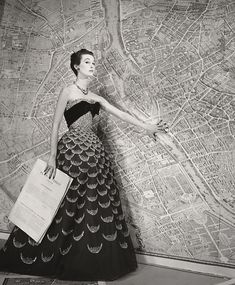 "LOUISE DAHL-WOLFE  1895 - 1989 ""Plan de Paris,"" Mary Jane Russell in Dior Dress Date:1951"