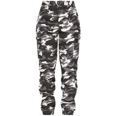 Stone Camo Print Cargo Trousers ($38) ❤ liked on Polyvore featuring pants, stoner pants, camo trousers, cargo trousers, camoflage pants and camouflage pants