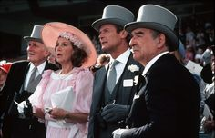 """Q, Moneypenny, Bond and M at Royal Ascot in """"A View to a Kill. Roger Moore, Derby Day, Royal Ascot, Horse Racing, James Bond, Over The Years, The Man, Panama Hat, Film"""