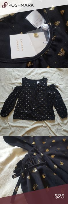 Lauren Conrad Cold Shoulder w/ Honeybees and Dots Super cute sheer blouse with gold bee and polka dot pattern. Bows and elastic at tops of sleeves and a fitted, elastic wrist. Button-down back Lauren Conrad Tops Blouses