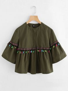 Shop Bell Sleeve Tassel And Embroidered Tape Detail Jacket online. SheIn offers Bell Sleeve Tassel And Embroidered Tape Detail Jacket & more to fit your fashionable needs. Stylish Dresses For Girls, Stylish Dress Designs, Dresses Kids Girl, Kurti Designs Party Wear, Kurta Designs, Blouse Designs, Girls Fashion Clothes, Teen Fashion Outfits, Look Fashion