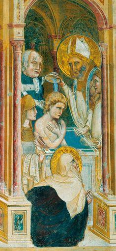 GUARIENTO DI ARPO - Battesimo di Agostino - affresco - 1338 -  Chiesa degli Eremitani a Padova