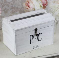 Wedding Card Box With Lock Vintage Wedding Decor (item P10563). $75.00, via Etsy.