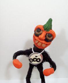 Halloween Pumpkin Doll Scare Dance Folk Art Jack O by llacarve, $25.00