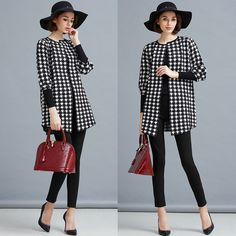 771594f7e3061a Women Houndstooth Pattern Cropped Sleeve Cardigan Black White
