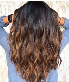 Brunette Color, Balayage Brunette, Ombre Hair Color, Hair Color Balayage, Brown Hair Colors, Brunette Highlights, Hair Colour, Tiger Eye Hair Color, Brown Ombre Hair