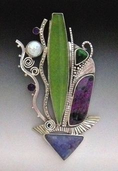 Pin/Pendant by Continos Studios. Sterling & fine silver  Serpentine, sugilite, chrysocola, amethyst, pearl, garnet