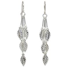 925 Sterling Silver Leaf-Shaped Dangle Earrings  'Leaf Chimes'.More info for long earrings;sterling silver hoop earrings;silver earrings;ruby earrings;hoop earrings could be found at the image url.(This is an Amazon affiliate link and I receive a commission for the sales)
