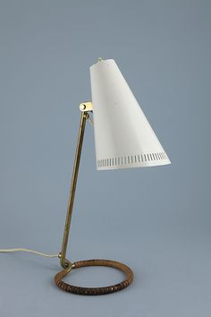 Mauri Almari; Brass, Enameled Metal and Leather Table Lamp for Idman Oy, 1955.