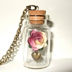 Pink Rose Bottle Necklace Paper Flower Pendant Spring Fashion Valentines Jewelry. - £14.00, via Etsy.