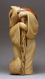 Fox-Priest Netsuke - Carved from Boxwood, Briar, Amber, Honey Horn with Juniper inlay by Sergey Osipov.