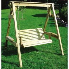 Swing Seat - Wooden Garden Swing Seat With Wood Frame - 2 Seater Swing Bench
