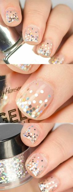 Awesome Glitter Nail Art Design – The Glitter Tears Nail Art 'Trend' – Cute… Henna Designs, Nail Art Designs, French Pedicure Designs, Classy Nail Designs, Trendy Nail Art, Easy Nail Art, Classy Nails, Simple Nails, Acrylic French Manicure