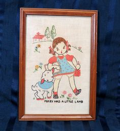 "on ebay: Vintage Embroidery ""Mary Had A Little Lamb"" Framed Embroidered Nursery Decor"