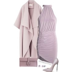 A fashion look from December 2015 featuring Casadei pumps, Hermès handbags and Honora earrings. Browse and shop related looks. Purple Outfits, Hermes Handbags, Dress Me Up, Fashion Looks, Pastel, Glamour, My Style, Womens Fashion, Polyvore