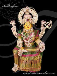 Goddess Lakshmi VaraLaksmi Idol for Pooja Vratam Doll with Decorations - Buy Online Beautiful Gif, Beautiful Saree, Sai Baba Pictures, Lakshmi Images, Sitting Posture, Goddess Lakshmi, Good Morning Images, Sofa Design, Deities