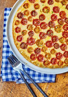 Cornbread meets cherry tomatoes in this upside-down tomato corn cake.