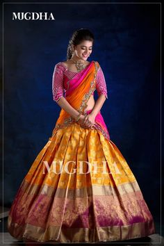 Check out this brand which have the best South Indian bridal wears like half sarees and silk sarees. Lehenga Saree Design, Half Saree Lehenga, Pattu Saree Blouse Designs, Lehnga Dress, Bridal Blouse Designs, Saree Look, Lehenga Designs, South Indian Blouse Designs, Brocade Lehenga