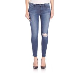 FRAME Le High-Rise Distressed Skinny Jeans ($239) ❤ liked on Polyvore featuring jeans, apparel & accessories, endell, blue skinny jeans, denim skinny jeans, high rise skinny jeans, ripped jeans and high-waisted jeans