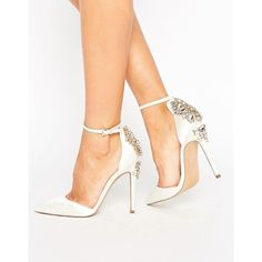 ASOS PALAIS Bridal Embellished High Heels (1.835 CZK) ❤ liked on Polyvore featuring shoes, pumps, cream, pointy toe shoes, bridal party shoes, pointed toe ankle strap pumps, pointed toe shoes and ankle strap pumps