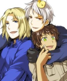 France: *Spain is so cute!* Prussia: I'm Awesome!  Spain: *They all scare me ~_~*