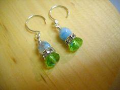 SEA BREEZE and Rhinestones Beaded Earrings by Beads4You2008,