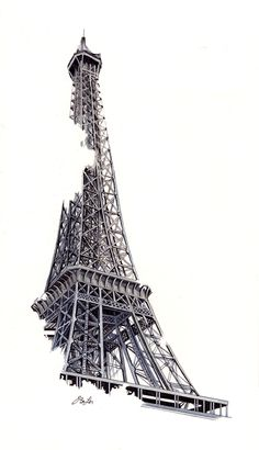 """Coincidentally, I completed this drawing of """"La Tour Eiffel"""" on November 12 – the day before terror attacks rocked the city of Paris, bringing the world to mourn together for the people. Eiffel Tower Tattoo, Eiffel Tower Drawing, Eiffel Tower Art, Architecture Sketchbook, Art Sketchbook, Art Sketches, Art Drawings, Eiffel Tower Photography, Paris Drawing"""