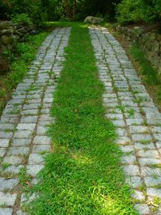 Cobbelstone and grass driveway in Arlington, MA
