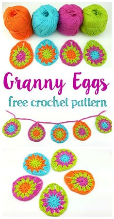easter crochet patterns It's colorful egg season! Crochet these cute, fun, and bright as can be eggs to add to your springtime decor. Leave them as is or make them into a garlan Easter Crochet Patterns, Granny Square Crochet Pattern, Crochet Squares, Crochet Motif, Crochet Designs, Free Crochet, Crochet Bunting Free Pattern, Crochet Granny, Crochet Christmas Garland