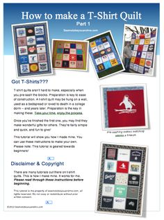 T-shirt Quilt - tutorial for beginners! For all those T-shirts I've been saving.  Looks awesome. LOTS of great tips!!