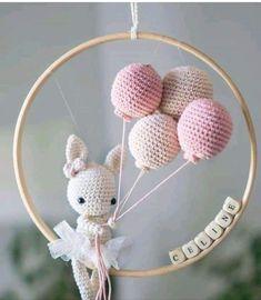 Amigurumi For Baby Room – Knitting And We Crochet Baby Mobiles, Crochet Baby Toys, Crochet Bunny, Crochet Toys Patterns, Amigurumi Patterns, Stuffed Toys Patterns, Crochet Animals, Baby Knitting, Crochet Diy