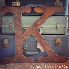 18 inch tall Rusty Metal Letter A  Z & 1 2 3 by von JunkLoveandCo, $32.00
