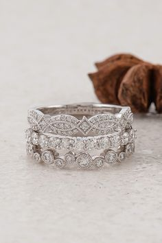 We don't know which one we like the best! This stack of engagement rings looks so beautiful together from @shaneco!