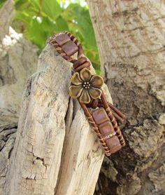 Lilac Luster CzechMates beads leather wrap by WorldOfSquirrelCraft, $22.00